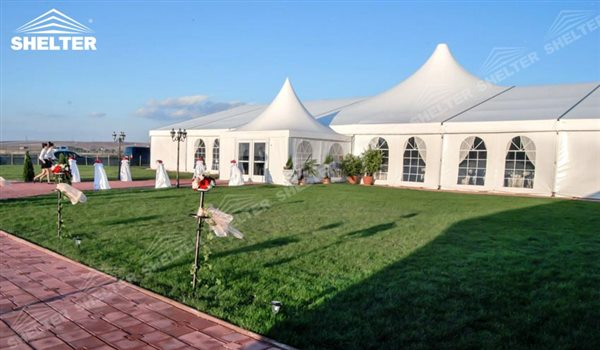 SHELTER Wedding Hall - High Peak Tents Party Marquee - Luxury Reception Tent - Outdoor Catering & Large High Peak Tents - Mixed Party Tent House - Luxury Wedding Tent