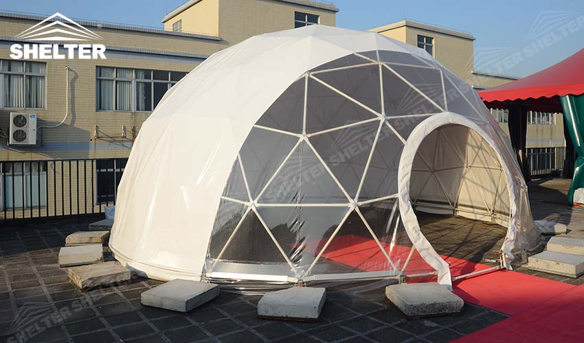 half clear transparent geodesic dome -Shelter geodesic dome tent for sale-10m-20m dome 56