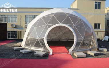 half clear transparent geodesic dome -Shelter geodesic dome tent for sale-10m-20m dome 57