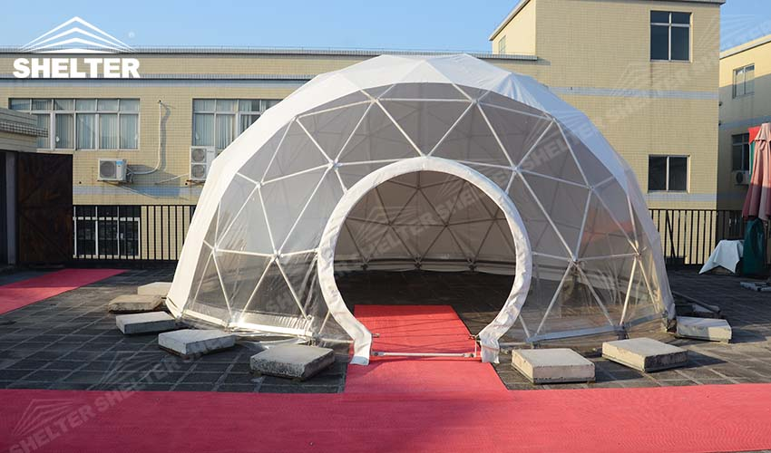 Portable Dome Shelters : Half clear transparent geodesic dome shelter